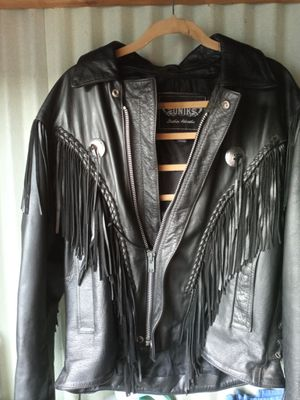 Black leather fringe jacket sz 46 or womens m-large for Sale in Indianapolis, IN
