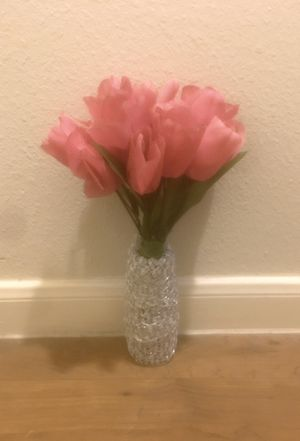 Z Gallerie Faux Pink Tulips in Silver Shimmery Vase for Sale in Rosenberg, TX
