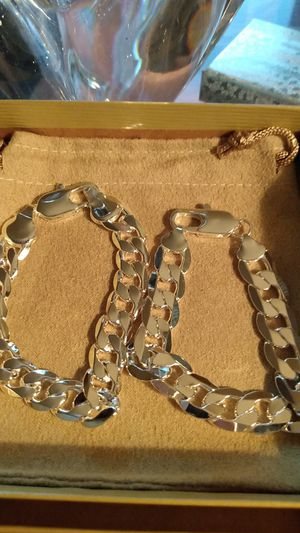 """Two sterling silver bracelets 8"""" ea 12mm. Brand New for Sale in North Las Vegas, NV"""