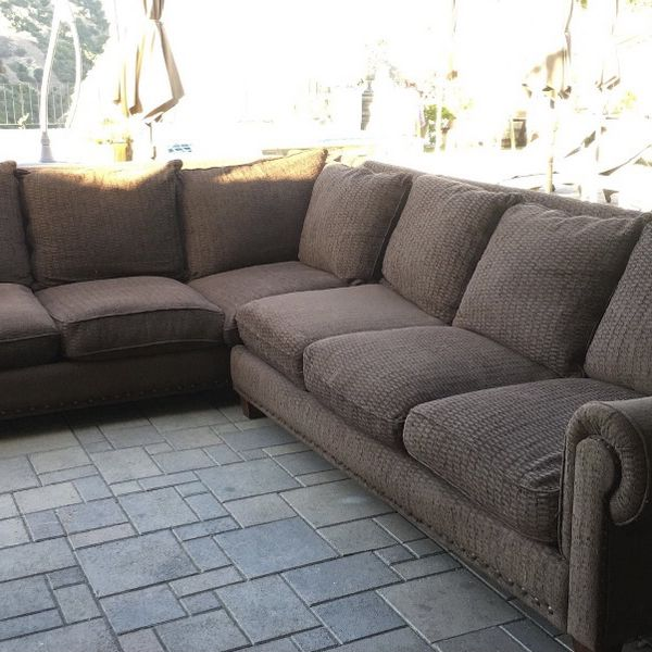 Brown Sectional Sofa/Couch (Free Delivery)