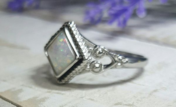 925 Silver Handmade Opalite Ring (Great Gift Idea!)-Size 9 Available Locally
