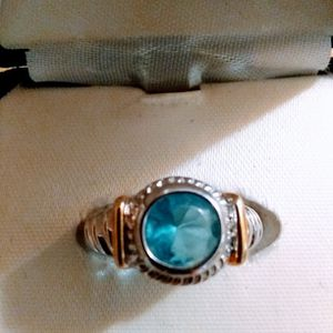 Beautiful 🌹 aquamarine Ring 925 italian silver with 14 kt gold stripes on the side size 7.🎁🎁🎁 for Sale in West Palm Beach, FL