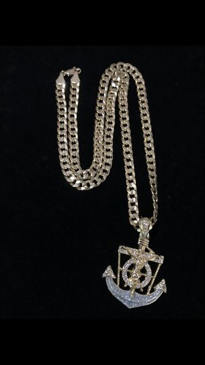 14k gold fillets sigh sterling silver Cuban with anchor charm for Sale in Los Angeles, CA