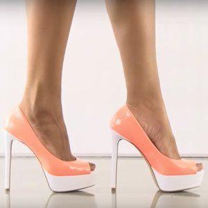 Aldo Palmarol Peep Toe Sandals 5 inch Heels Orange and White Pumps Size 7 for Sale in Dearborn, MI
