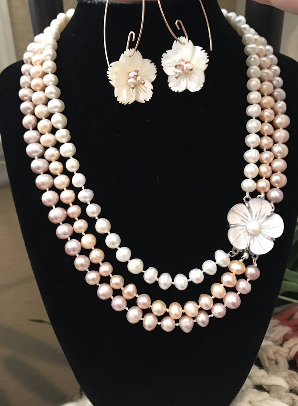 SEASON'S BEST DEAL FREE MOTHER OF PEARL EARRING with freshwater pearl 3 strands pearl necklace