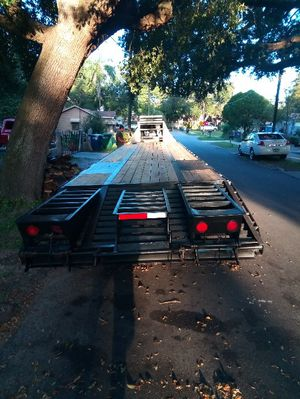 Asking $8500 gooseneck trailer new tires new wood road ready titles in hand 40 foot trailer for Sale in Tampa, FL