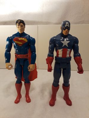 Superman & Captain America Action Figure Pair for Sale in Houston, TX