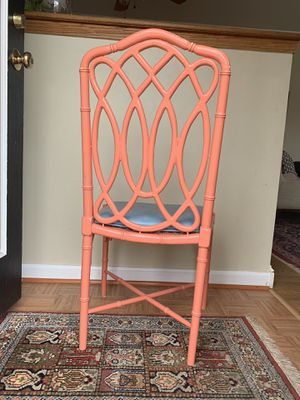 VINTAGE CORAL BAMBOO SIDE CHAIR for Sale in McLean, VA