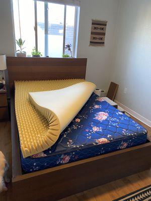 Full Size Bed Frame + Mattress + Mattress Topper for Sale in Denver, CO