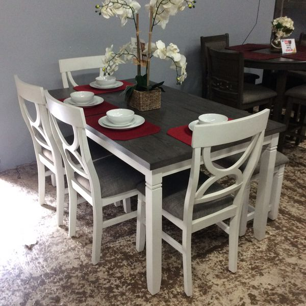 New Rustic White/Gray 6 Pc Dining Set Table Chairs Comedor Mesa Silas