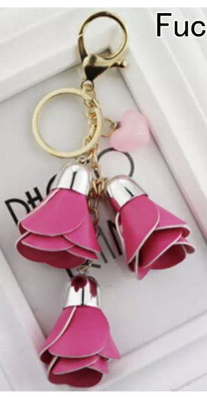 BRIGHT or LIGHT PINK or GOLD FLORAL LEATHER KEYCHAIN BACKPACK PURSE TAG for Sale in Macomb, MI