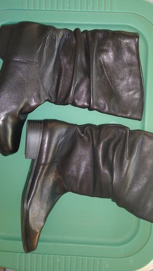 Women's St John's Bay Black Leather Mid Calf Pull On Slouch Boots Size 8.5M for Sale in Dublin, OH
