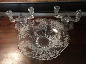 3pc set vintage glass footed bowl & candelabras for Sale in Gig Harbor, WA