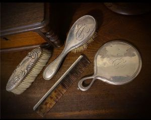 Monogrammed 1899! Original Vintage Antique Beaded Engraved Silver Dresser Set w/ Mirror, Gentlemen/Ladies Shoe Hair/Shoe Brush, Tortoiseshell Comb for Sale in San Diego, CA