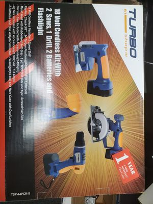 CORDLESS HOME POWER TOOLS KIT - With 2 Saws. 1 Drill, 2batteries & Flashlight for Sale in Corona, CA