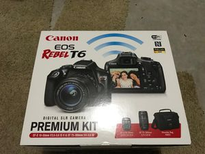 Brand NEW Canon EOS Rebel T6 DSLR Camera 18-55 75-300mm bag Premium for Sale in Alpharetta, GA