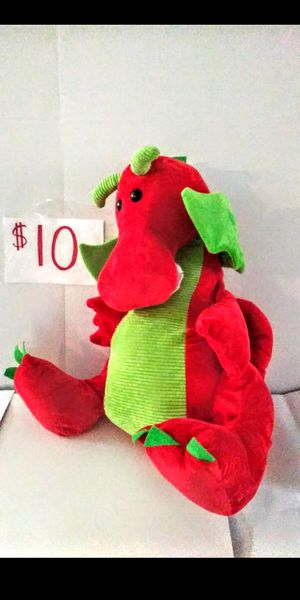 Brand new beautiful soft with corduroy red and green Christmas dragon stuffed animal boy girl toy super nice! Huge for Sale in Boca Raton, FL