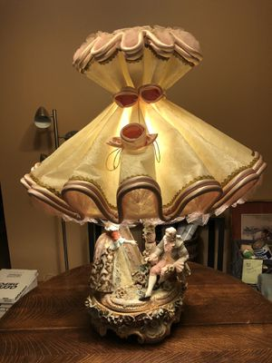 Pair Of Beautiful Ornate Italian Porcelain Figural Lamps for Sale in Hampshire, IL