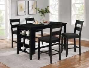 Black counter height dining table set with kitchen shelves for Sale in El Monte, CA