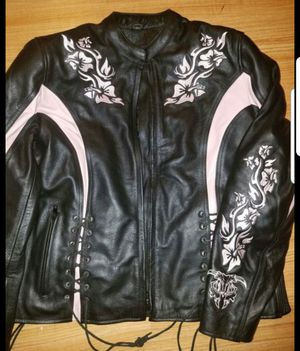 Womens leather motorcycle jacket.pink&black with padding/lining. Size,large.$140. for Sale in Garland, TX