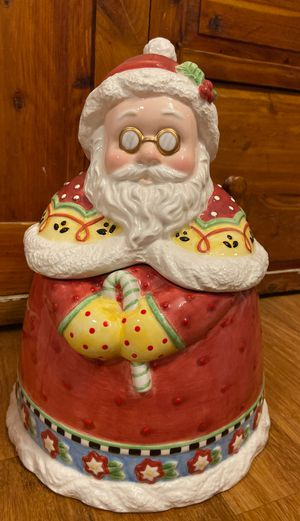 Mary Engelbreit Santa Cookie decorative Christmas Jar for Sale in Claremont, CA