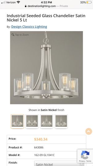 Design Classics Lighting Chandelier Satin Nickel Finish for Sale in Snohomish, WA