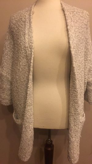 Woven silver and white cardigan with pockets size L or wear oversized for Sale in Washington, DC