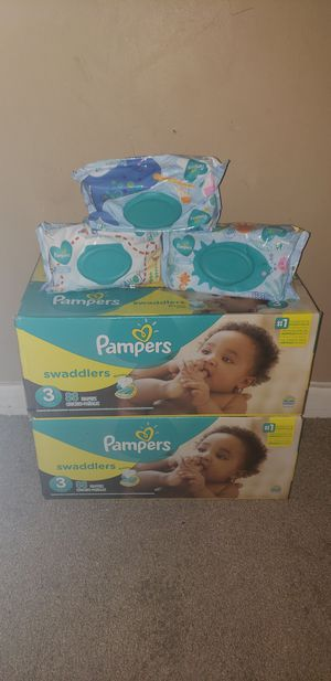 $45.00 (2/88 Pampers Swaddlers3/73)2 Pampers wipes) for Sale in Riverdale, GA