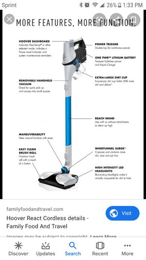 Hoover REACT Whole Home BH53200 Stick Vacuum - Bagless - Foam Filter for Sale in Glendale, AZ