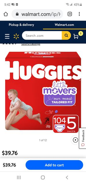 Huggies Little Movers Baby Diapers, Size 5, 104 for Sale in Lemon Grove, CA
