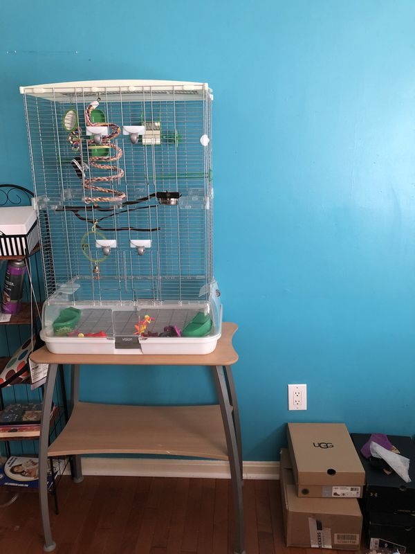 VISION Bird cage, stand and accessories.