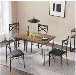 VECELO Rustic Country Set Wooden Table and 4 Chairs with Metal Legs for Breakfast Nook, Kitchen, Dining Room-4 Placemats Included, Black for Sale in La Mirada,  CA