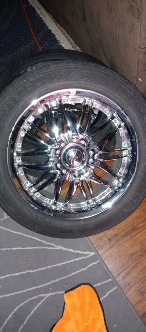 """4 17"""" chrome rims & tires 5x112 tires 80% fits Mercedes vw audi for Sale in Lacey, WA"""