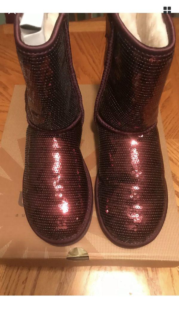 UGG W Purple Boot Classic Short Sparkles 1006739 W / Port
