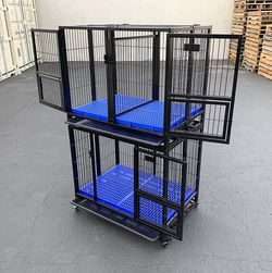 """$270 new (set of 2) stackable dog cage 37x25x64"""" heavy duty folding kennel w/ plastic tray for Sale in El Monte,  CA"""