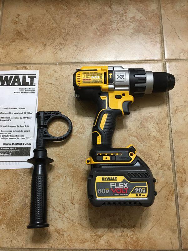 DEWALT 20-Volt MAX XR Lithium-Ion Cordless 1/2 in. Premium Brushless Hammer Drill + 1 Flexvolt battery 6.0