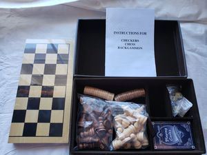 WikiAnswers Chess Checkers Backgammon Game Leather Box Brand New for Sale in San Diego, CA