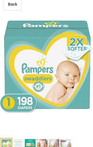 Diapers Newborn/Size 1 (8-14 lb), 198 Count - Pampers Swaddlers Disposable Baby Diapers, ONE MONTH SUPPLY for Sale in Willowbrook, IL