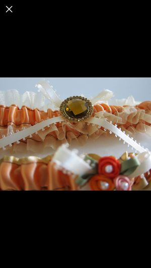 Orange Sheer Wedding Garter Set with Rhinestone Ribbon Keepsake and Toss Garter for Sale in Chantilly, VA