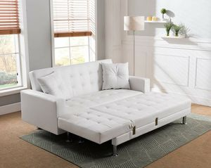 New white bonded leather sofa Sectional futon with tufting for Sale in Ontario, CA