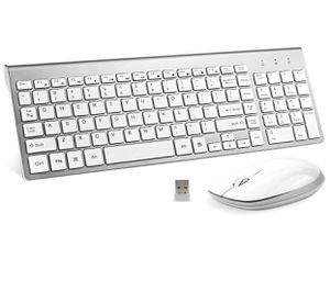 Wireless Keyboard and Mouse, FENIFOX USB Full Size Quiet Compact Compatible with iMac Mac PC Laptop Tablet Computer Windows (Silver White) for Sale in Montebello, CA