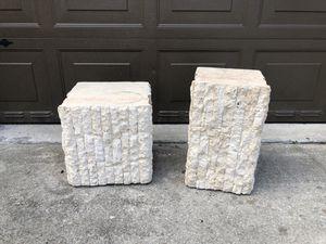"Pair 2 stone columns stands 19"" & 15"" home decor for Sale in Davie, FL"