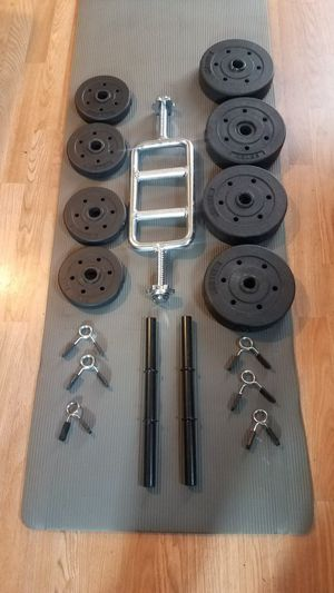 2 foot standard Tricep barbell 2x adjustable dumbbells 4x7.5lbs 4x2.5lbs Brand new for Sale in Montebello, CA