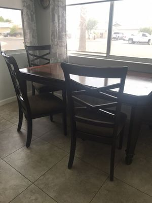 Very Nice Walnut Wood Table with 4 Chairs & Sleeve to Extend for Sale in Goodyear, AZ