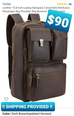 Leather 15.6 Inch Laptop Backpack Convertible Briefcases Messenger Bag Shoulder Bag Business Travel Daypack for Sale in Pomona, CA