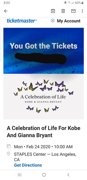 Kobe Bryant A Celebration of Life for Kobe & Gianna Bryant Tickets Lakers for Sale in San Fernando, CA