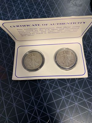 Walking liberty set of two silver coins for Sale in Hialeah, FL