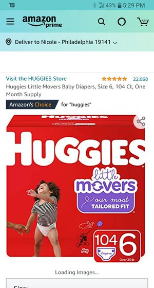 Huggies Little movers Size 6 104 count (1 in stock nw for Sale in Phoenix, AZ