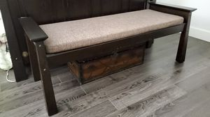 Teak wood bench, 5 ft , with cushion for Sale in Huntington Beach, CA