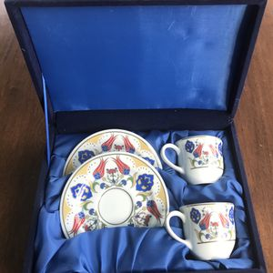 SELVI El Sanatlare Porcelain Espresso Cup And Saucer Set Of 2 for Sale in Gaithersburg, MD